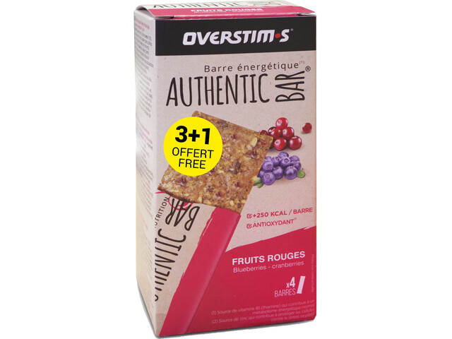 OVERSTIM.s Authentic Boîte De Barres 3+1 x 65g, red berries